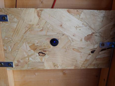 DC switch mounted in wooden board